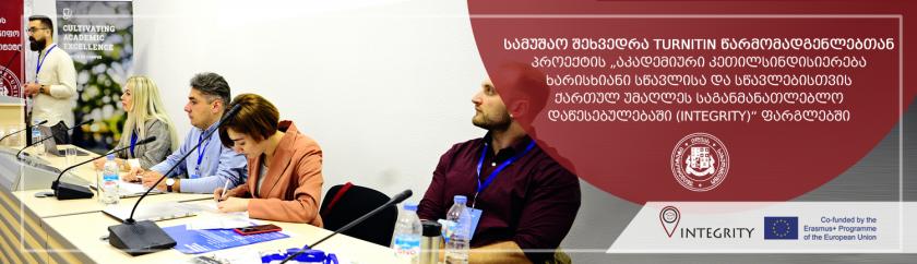 """სამუშაო შეხვედრა TURNITIN წარმომადგენლებთან პროექტის """"აკადემიური კეთილსინდისიერება ხარისხიანი სწავლისა და სწავლებისთვის ქართულ უმაღლეს საგანმანათლებლო დაწესებულებაში (INTEGRITY)"""" ფარგლებში"""